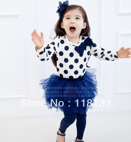 Wholesale-girls' outfits baby set tee skirt pant suit lace dress legging white top bow dot T-shirts