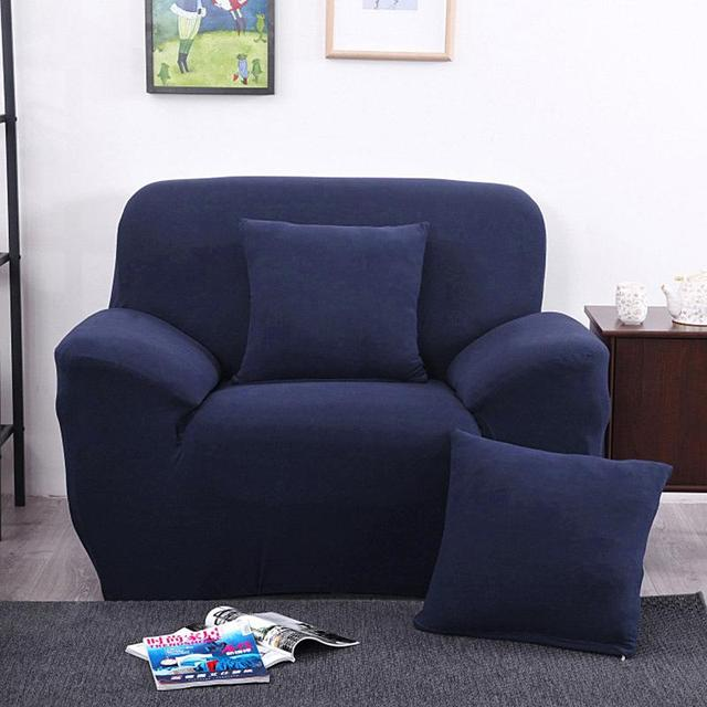 Universal Sofa Cover Elastic Arm Chair One Seater Slipcover Stretch Lounge  Couch Protector Blue Navy Home