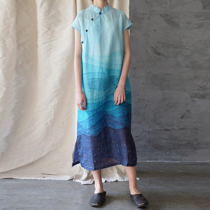 Johnature Women Stand Dress Button Short Sleeve Cheongsam 2019 Summer New Vintage Women Cloths Ramie High