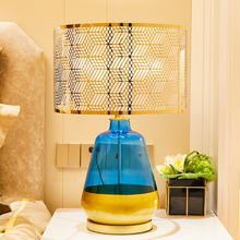 Lattice PVC Lampshade Blue and Golden Glass Table Lamps Vase Shape Nordic Luxurious For Villa Bedroom