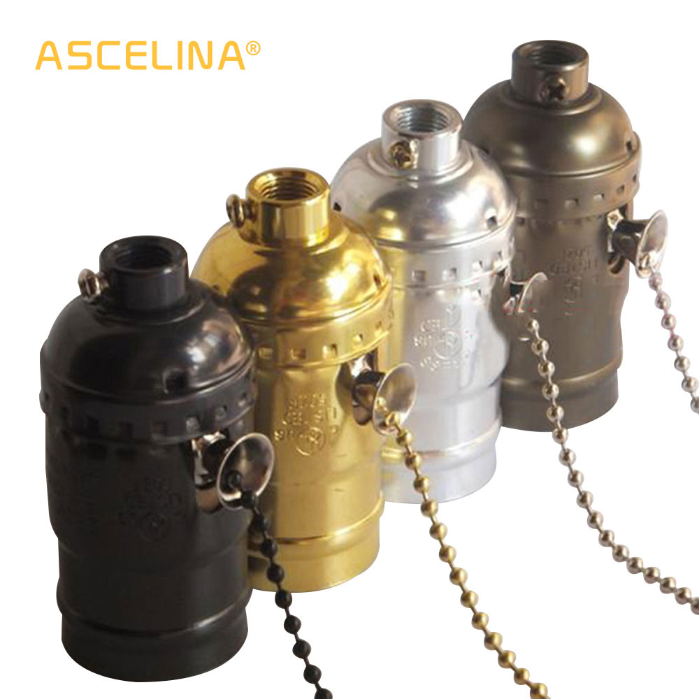 High Quality E27 Vintage Retro Lamp Base Holder Screw Aluminum Shell Zipper Light Screw Socket 4 Colors With Switch 110V/220V