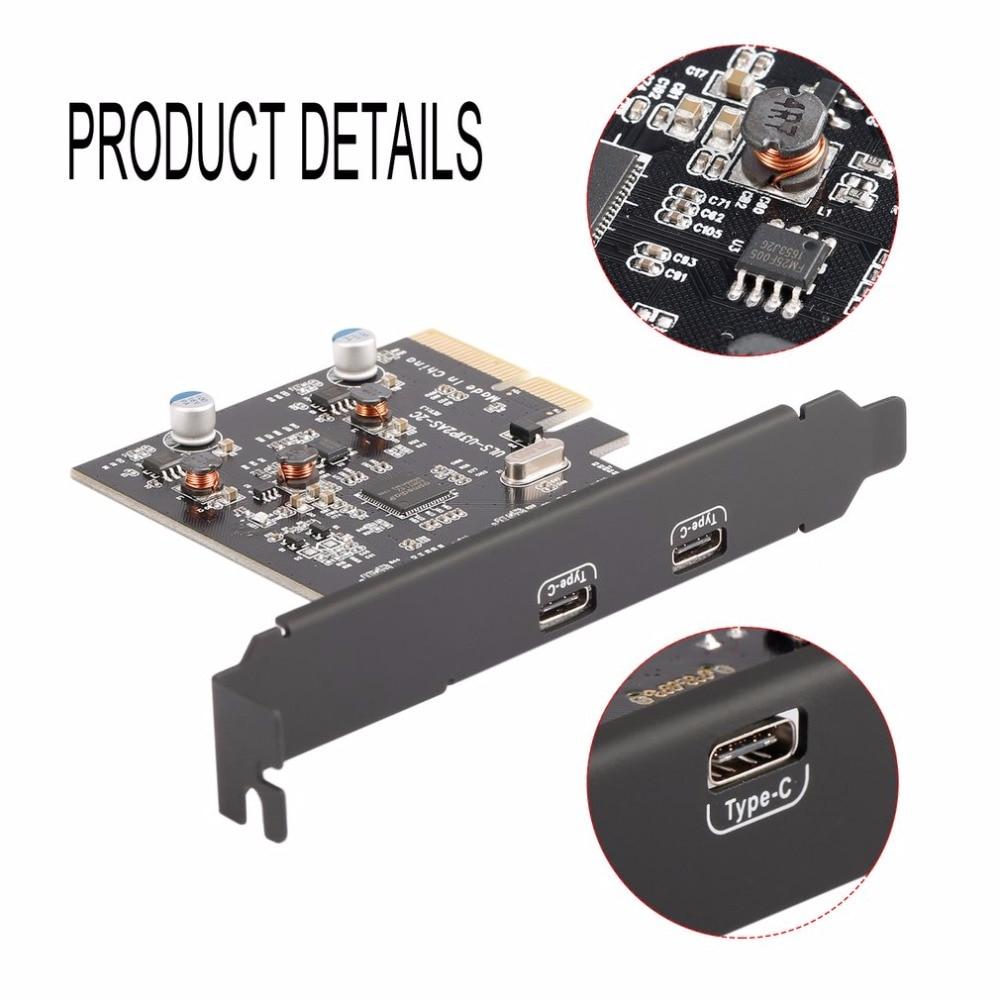 2 Type C Ports USB 3.1 (10 Gbps) PCI-E PCI Express Card Carte D'extension Carte Hôte Hub Contrôleur pour Ordinateurs de Bureau Vitesse jusqu'à 10 Gbps