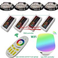 20m strip led RGB light 5050 DC12V + 4pcs 4zone controller + remote control WiFi