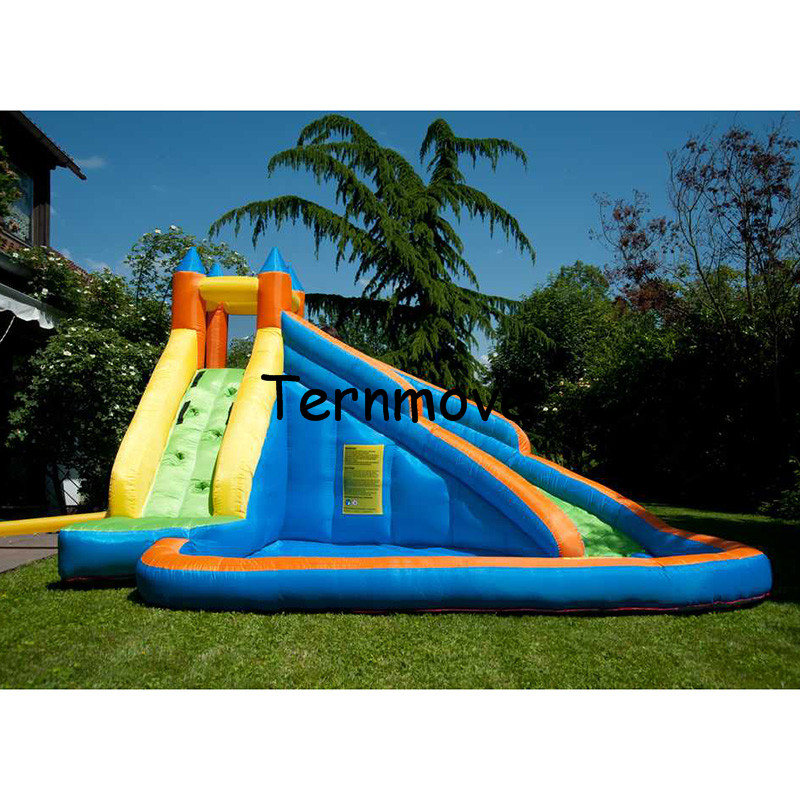 inflatable slide with pool children size inflatable indoor outdoor bouncy jumper playground ,inflatable water slide for sale children shark blue inflatable water slide with blower for pool