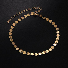 New Simple Style Adjustable Round Sequins Anklets Fashion Metal Alloy Gold Silver Color Foot Bracelet For Women Jewelry