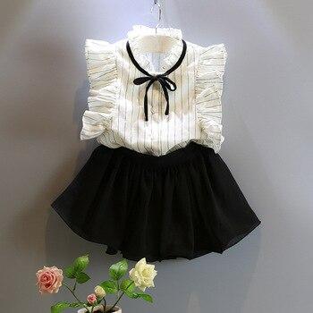 2017 summer chiffon Bow princess Shirts blouse+skirts 2pcs baby girl clothes sets conjuntos infantis 3~8age children Dresses conjuntos casuales para niñas