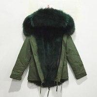 İtalya stil Mr koyu yeşil tilki kürk astar parka rakun kürk yaka hood kış kadın gerçek kürk ceket palto