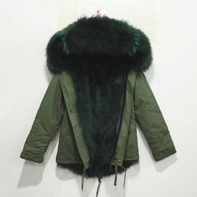 Italy style Mr dark green fox fur lining parka raccoon fur collar hood  winter women real fur jacket coats 1c2795bb9f
