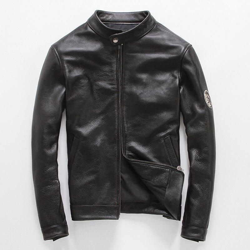 f844b94e9f5 YOLANFAIRY 100% Pure Cow Leather Jacket For Men Cuero Genuino Jackets Short  Slim Motocycle Coat