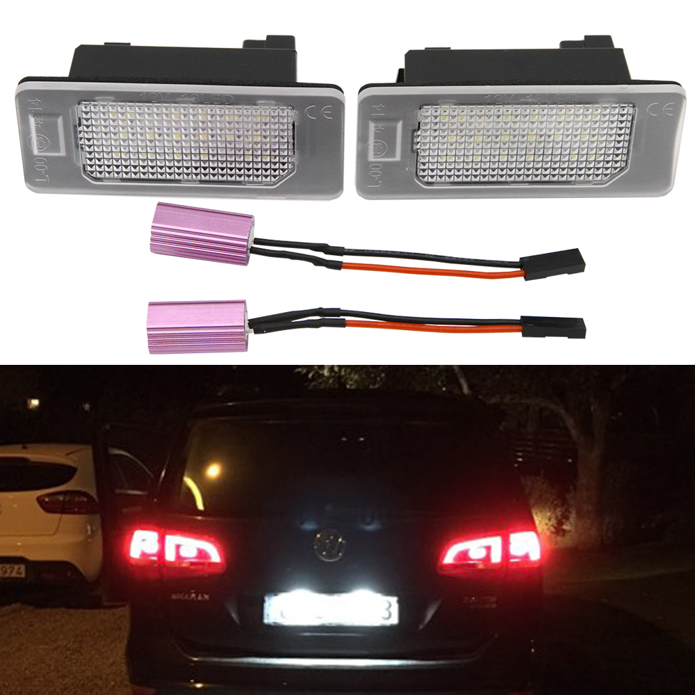 2x 24-SMD LED License Plate Light for VW Golf 6 Wagon Golf 7 Wagon Golf Plus Jetta 6 Passat B7 Wagon Sharan 2 Touran 2 Touareg 2 rhino tuning 2pc styling car led under mirror puddle light smd lighting for golf 6 gti cabriolet touran