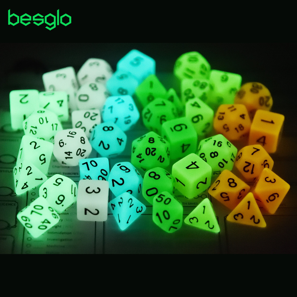 6 Colors Glow In Dark Polyhedral Dice For Dungeons And Dragons RPG Table Games D4 D6 D8 D% D10 D12 D20