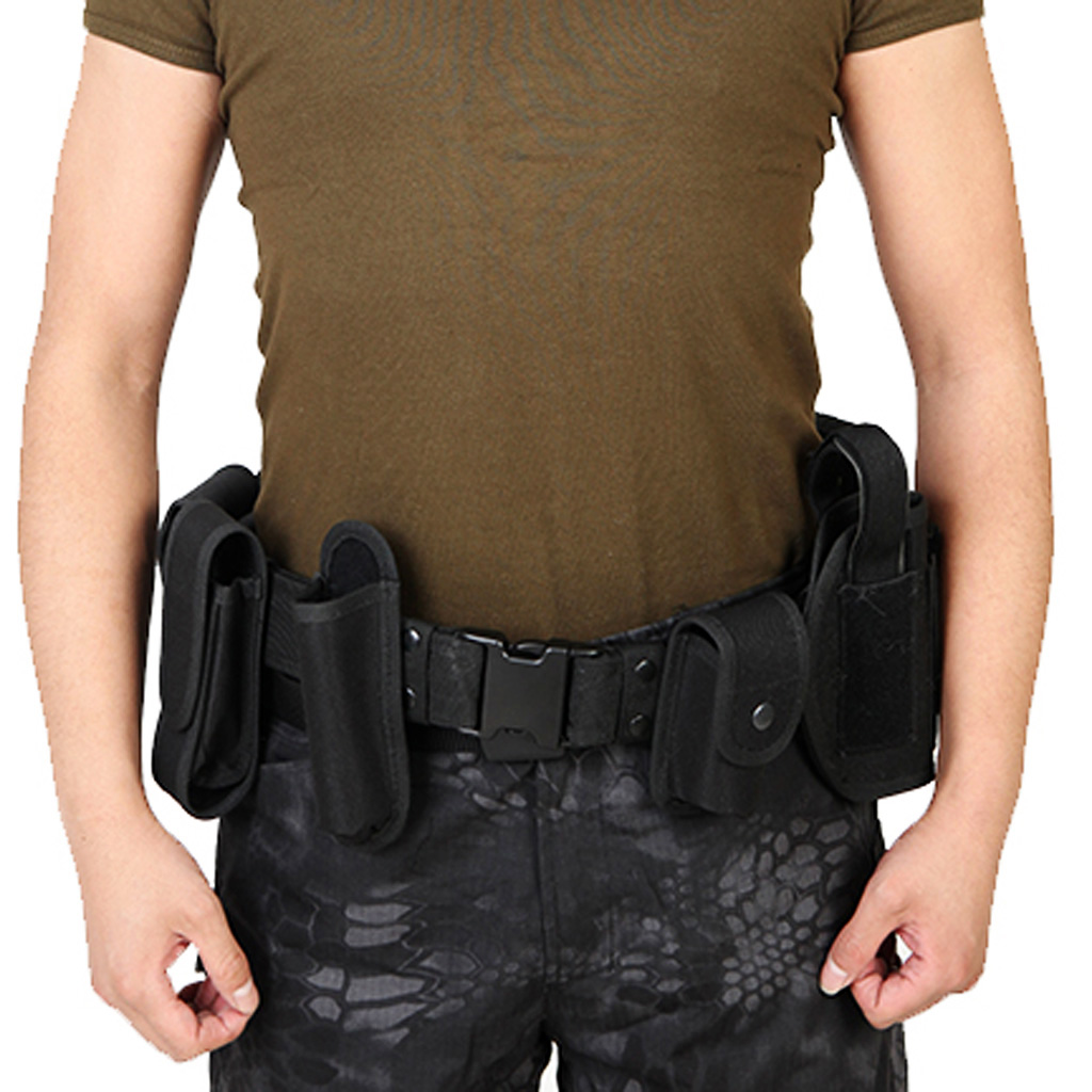 Utility Belt Waist Bag Pouch Mens Security Police Guard Patrol Kit with Radio Holster Tools for outdoorMens Belts   -