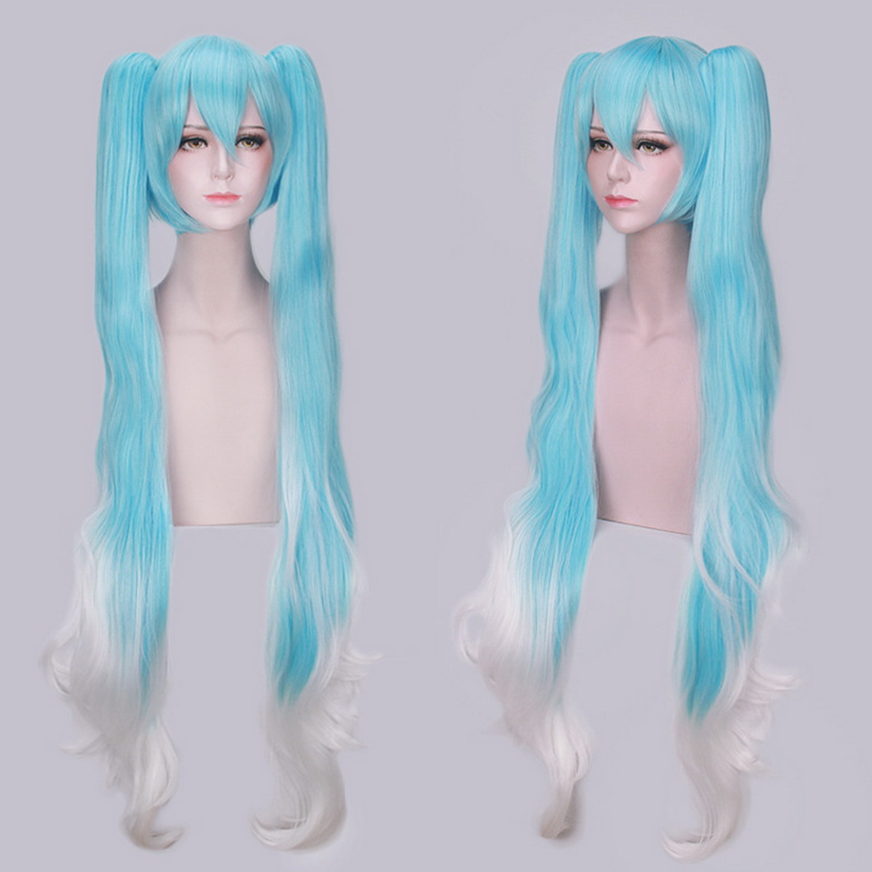 120cm Vocaloid Anime Cosplay Miku Wig Synthetic Hair Halloween Costume Woman Wigs With Double Long Blue White Ombre Ponytails