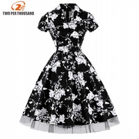 New Summer Dress Women Clothing Casual Beach Floral Rockabilly Vintage Swing Dress Retro Robe Pin Up Elegant Party Gown Vestidos