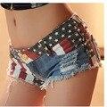 US Flag Ripped Denim Shorts Womens Panties sexy Designer Punk Mini Hotpant Pantalones Jeans Washed Denim Performance Club Short