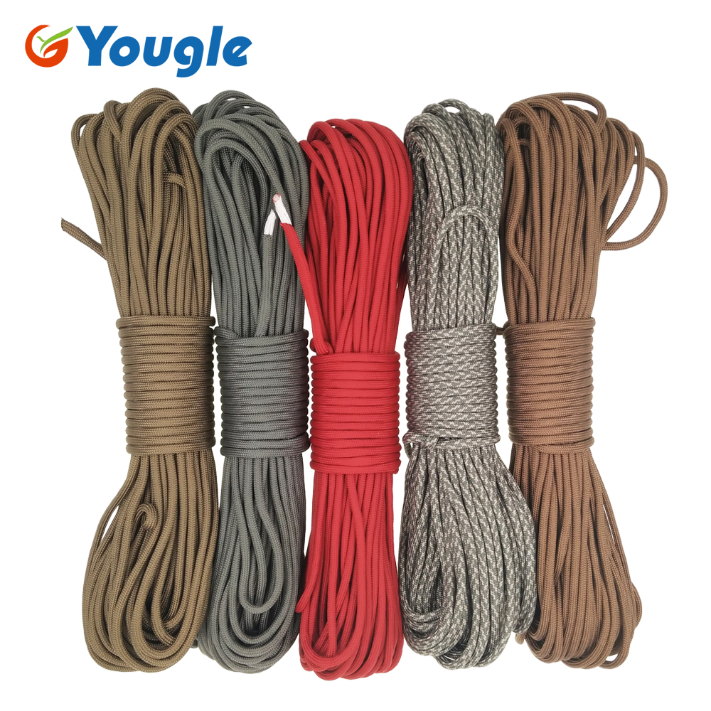 YOUGLE 750LB Paracord Parachute Cord Lanyard Rope Mil Spec Type IV 7 Strand 100FT Outdoor Climbing Camping survival equipment free shipping 1pieces lot 3 7v 603030 600mah lithium polymer battery quality goods of ce fcc rohs certification authority