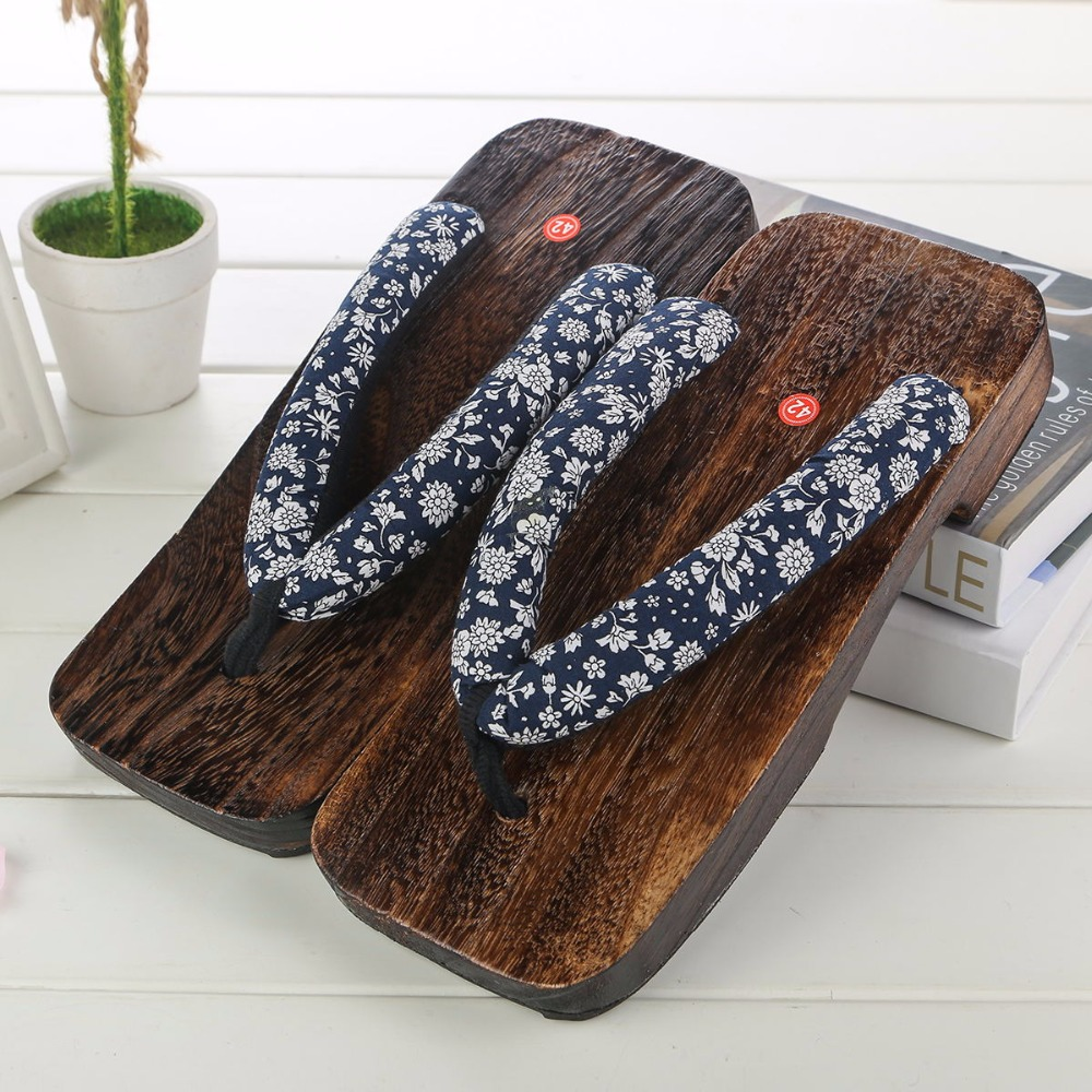 New Summer Fashion Male Platform Shoes Print Wood Men geta sandals Men China Geta Clogs Classial Wooden Slippers Mens Flip Flops