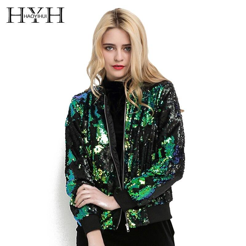 HYH HAOYIHUI Herbst Frauen Pailletten Mantel Grün Bomber Jacke Lange Sleeve Zipper Streetwear Tunika Lose Beiläufige Grund Dame Outwear