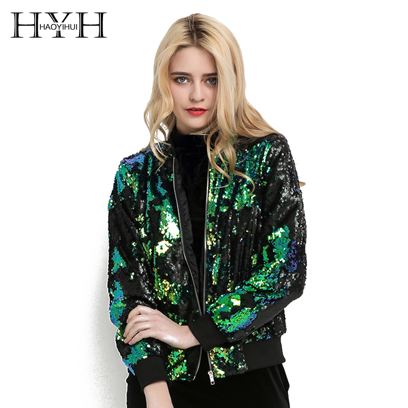 HYH HAOYIHUI otoño mujer lentejuelas chaqueta verde bombardero Chaqueta larga Zipper Streetwear túnica suelta Casual básica señora Outwear