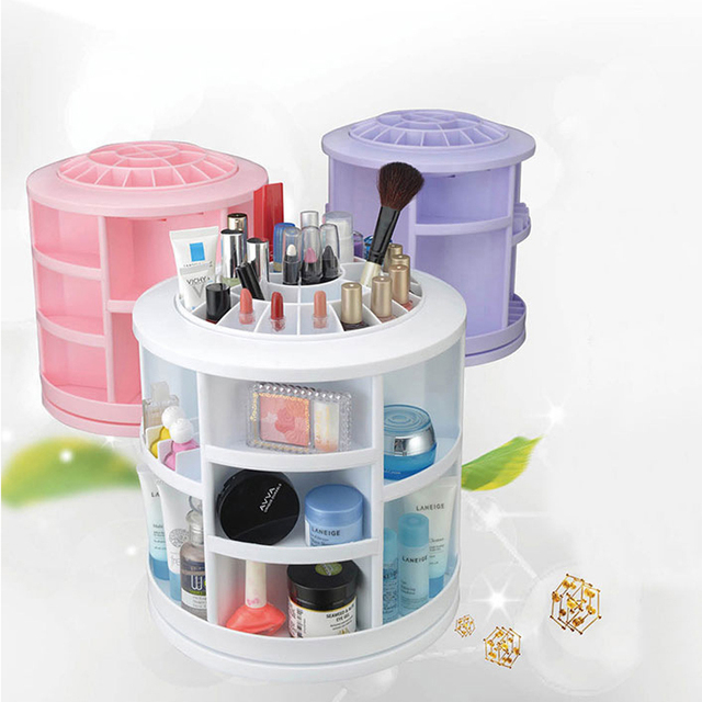 1pcs Fashion 360-degree Rotating Makeup Organizer Box Brush Holder Jewelry Organizer Case Jewelry Makeup Cosmetic Storage Box