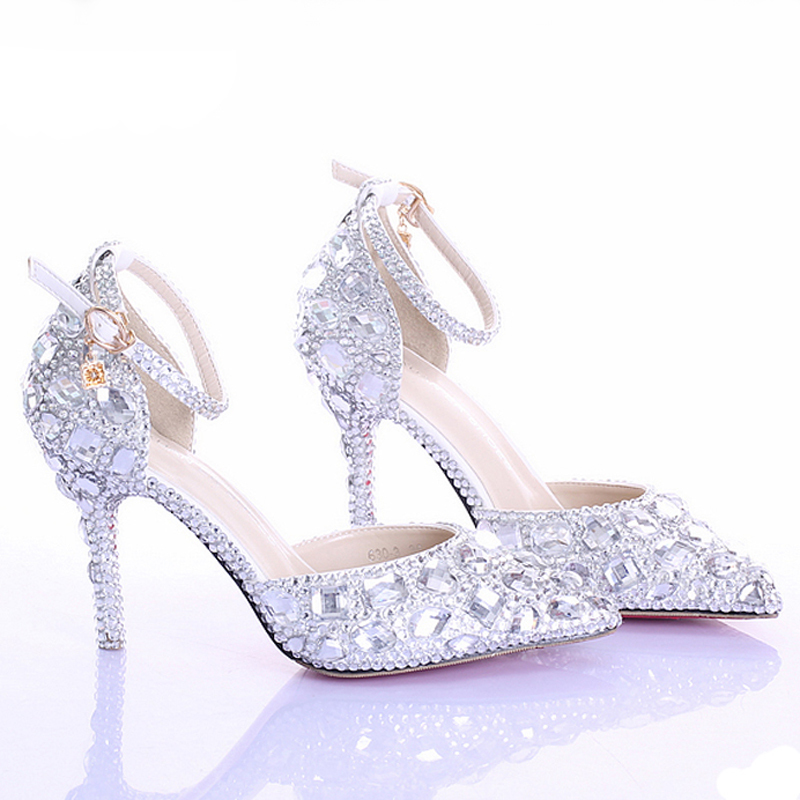 Pointed Toe Silver Pumps Ab Color Bridal Shoes Rhinestone High Heel Glitter Women Comfortable Wedding Ankle Straps In S From