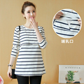 Spring Maternity Clothing Long-sleeve Tees Stripe  Nursing Clothing  Maternity t-shirt Breastfeeding Clothes Tee Shirt Grossesse