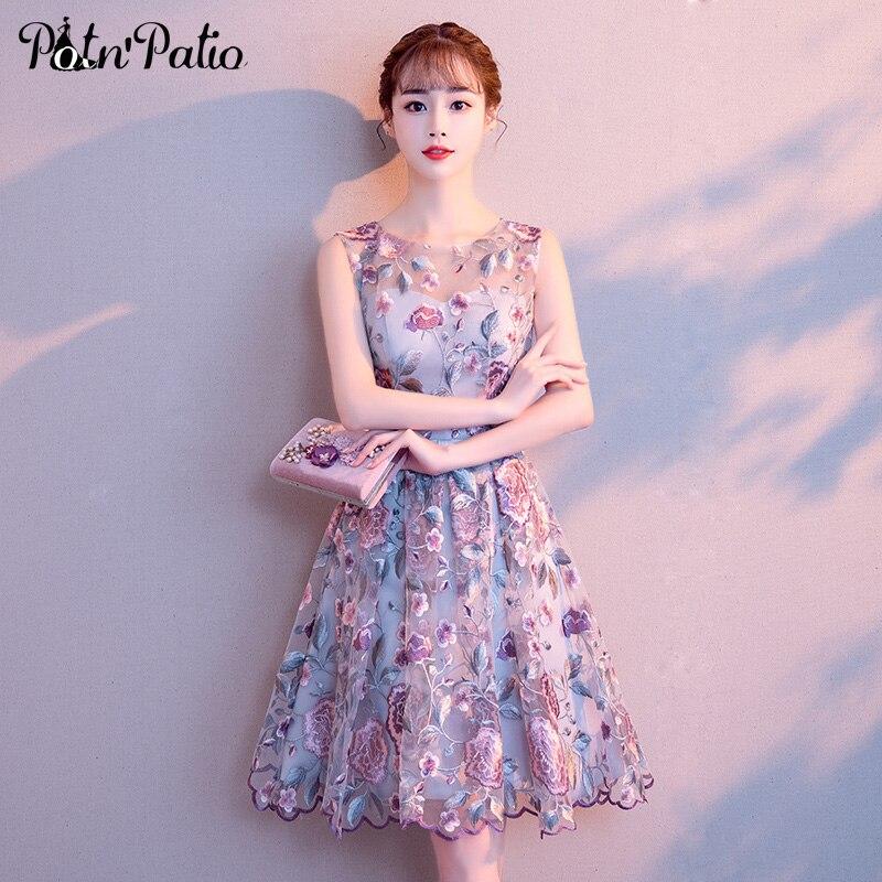 c1c8de274e4 Цветочные кружевные платья для выпускного вечера элегантные с круглым  вырезом без рукавов Короткие платья для выпускного