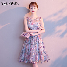 Homecoming-Dresses Elegant Lace Special Flower Sleeveless Short O-Neck