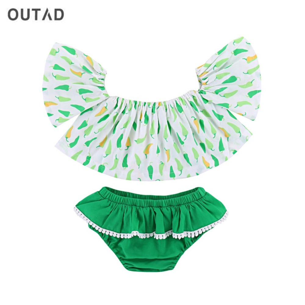 OUTAD Summer Newborn Baby Girl Clothes Infant Small Pepper Style Sleeveless T-Shirt Top Briefs Shorts 2pcs Outfit Clothes Set