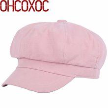 Mulheres novo design Octogonal Chapéus tampas boina cor sólida tecido macio  54-58 cm mulher 63e044c170b