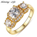 Luxury Brand Jewelry Geometric Cubic Zirconia Ring Gold Plated Clear Crystal Wedding Rings For Women Anel