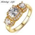 Marca de luxo Jóias Geométrica Anel Cúbicos de Zircônia Banhado A Ouro Claros de Cristal Anéis de Casamento Para As Mulheres Anel