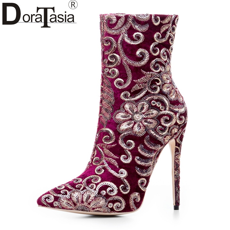 DoraTasia new design large size 33-43 ethnic shoes super thin high heels women embroider pointed toe woman boots party