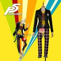 W1132 Persona 5 Ryuji Sakamoto Cosplay Costume Custom Made Outfit Black Jacket Man Fashion T Shirt Plaid Pants Academy Uniform