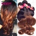 Brasileño Onda Del Cuerpo 4 Bundles T1b/33 # Ombre Brasileña Del Pelo Ella Hair Products Ombre Brasileño de la Virgen Del Pelo Humano Onda del Cuerpo del pelo