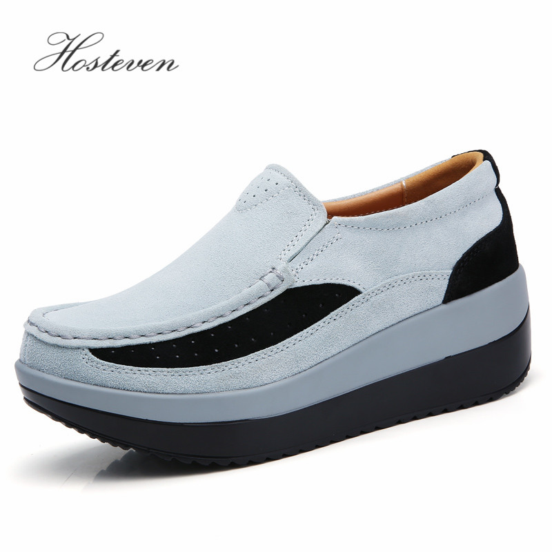 Image 2 - Hosteven Women's Shoes Flat Sneakers Ballet Genuine Leather Platform Woman Shoes Slip On Female Women's Loafers Moccasins Shoe-in Women's Flats from Shoes