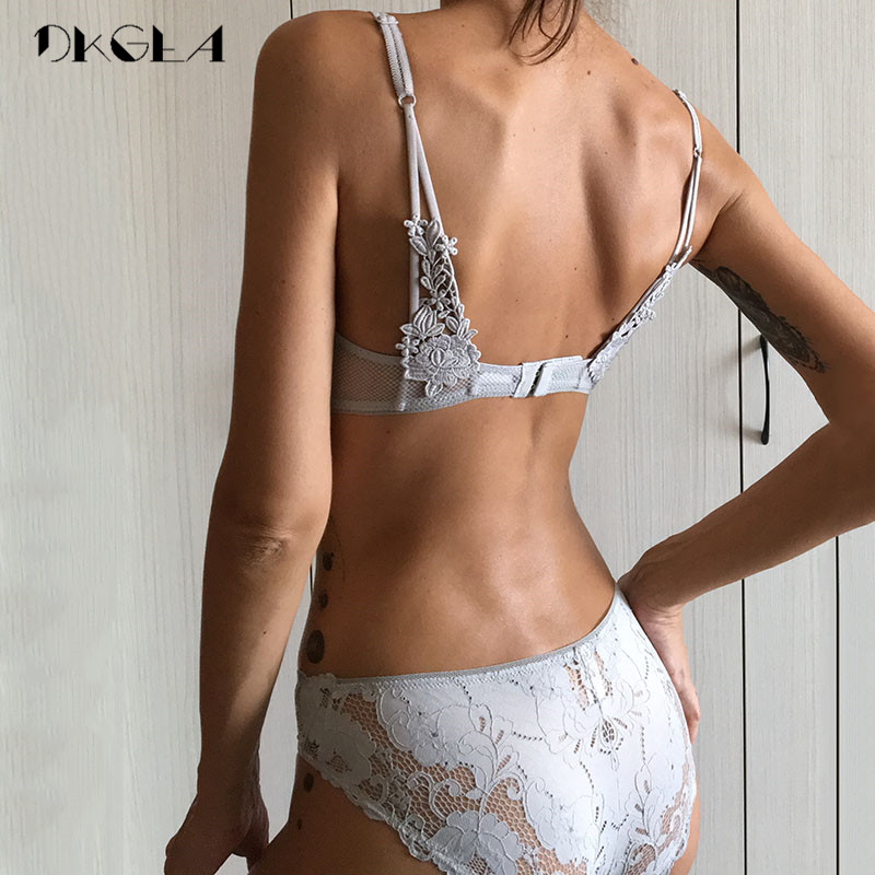 Image 2 - Ultrathin Gray Bra Set Sexy Plus Size C D Cup Women Lingerie Sets Lace Black Bras Hollow Out Brassier Underwear Set Transparent-in Bra & Brief Sets from Underwear & Sleepwears