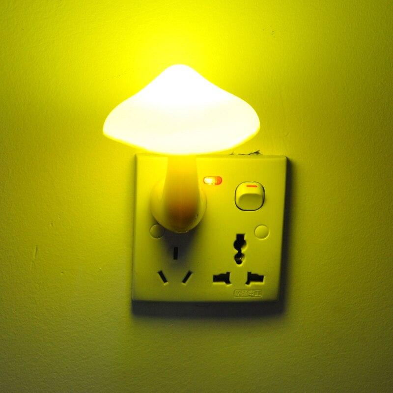 Led Lamps Room Decor Led Night Light Gift For Kids Child Baby Light-controlled Sensor Eu Us Plug Mushroom Wall Lamp Socket Lights
