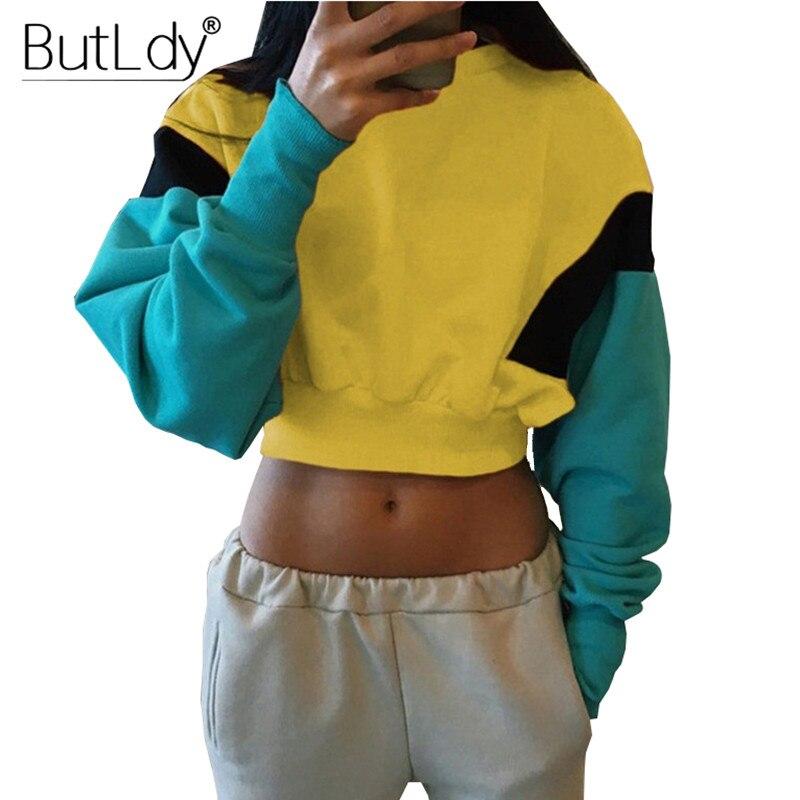 Long Sleeve Patchwork Sexy Short Sweatshirt Women Autumn Winter 2018 Cropped Pullovers Sweatshirts Fashion Oversized Hoodie Tops