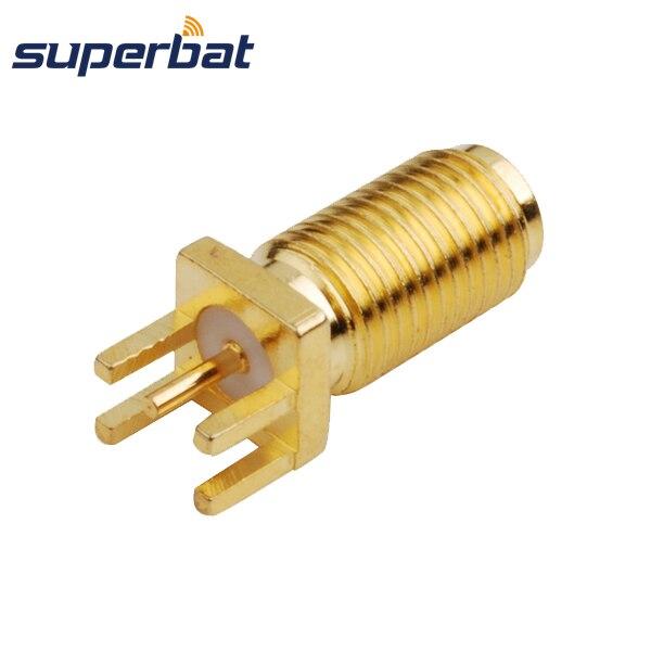 imágenes para Superbat RP-SMA sma Lanzamiento de Extremo Jack Hembra de Montaje En PCB versión larga de fibra conector Goldplated Nueva