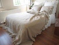 Постельное белье плоский Простыни с двойными оборками предварительно вымытые супер мягкий белье плоский кровать Простыни Твин Полный twin
