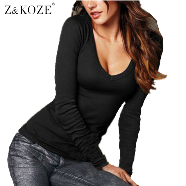 Z & KOZE Outono 2016 moda plus size mulheres V pescoço t camisa do punk manga Longa sexy top tees mulheres camisetas femininas tshirts