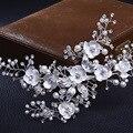 Chegada nova handmade pérola Barrette grampos de cabelo cocar de Strass Moda de Luxo de Prata para o Casamento Da Noiva Acessórios Para o Cabelo