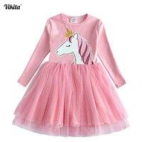 Платье для девочек с единорогом VIKITA, платье с длинным рукавом, осень-зима