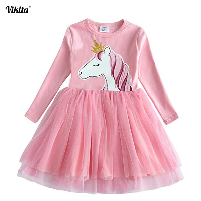VIKITA Girls Unicorn Vestidos Girls Long Sleeve Dress Kids Party Voile Dress Children Licorne Autumn and Winter Dresses LH4577