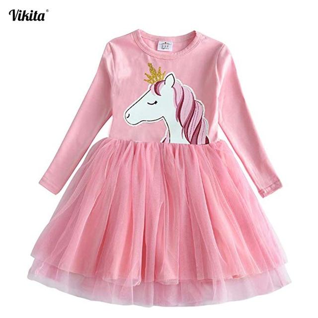 VIKITA/платье для девочек с единорогом; Vestidos; платье с длинными рукавами для девочек; детское праздничное платье с вуалью; Детские платья с единорогом; сезон осень-зима; LH4577