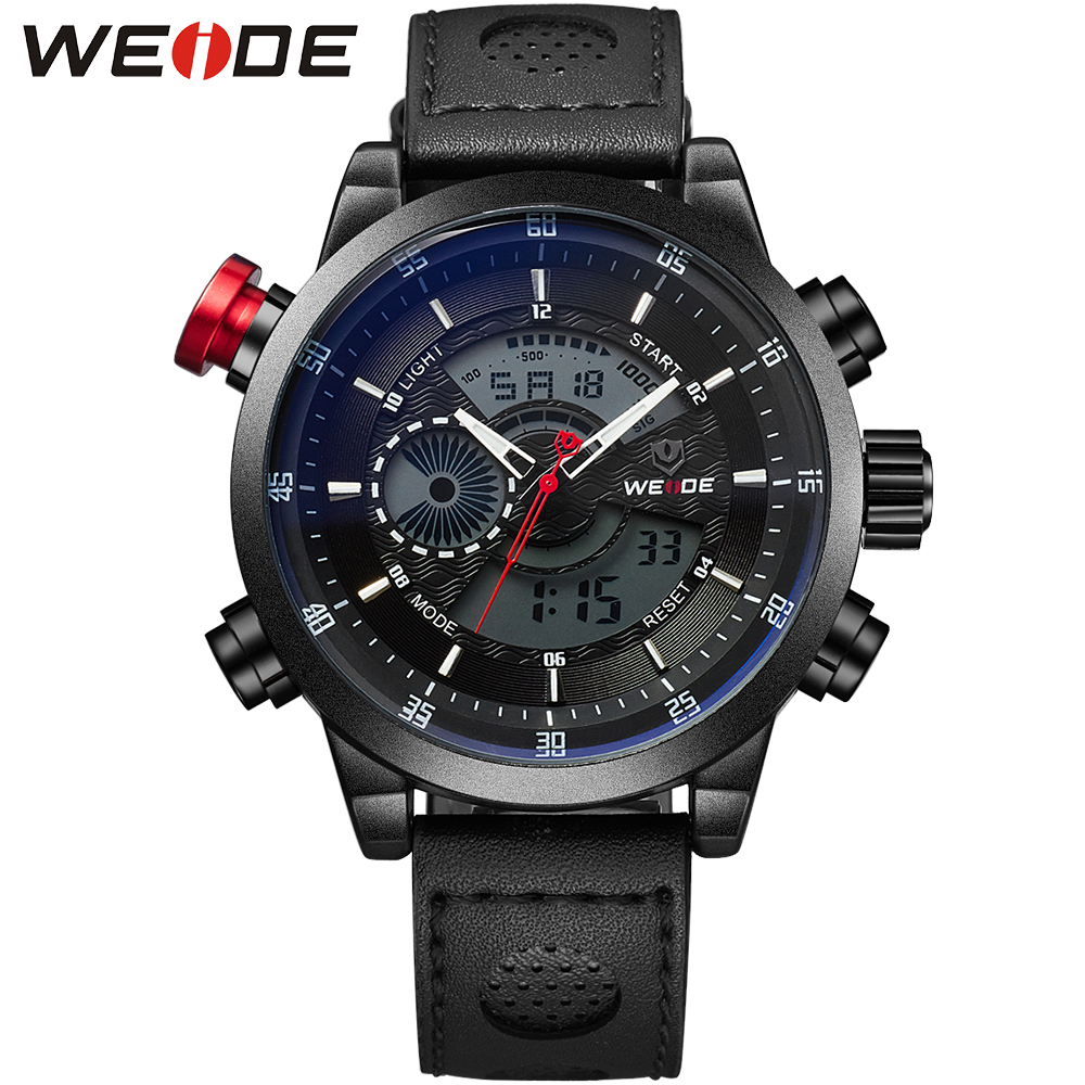 WEIDE Watch Men Sport Watch Repeater Back Light Black LCD Display Leather Strap 3ATM Waterproof Mens Military Clock  / WH3401 weide new men quartz casual watch army military sports watch waterproof back light men watches alarm clock multiple time zone
