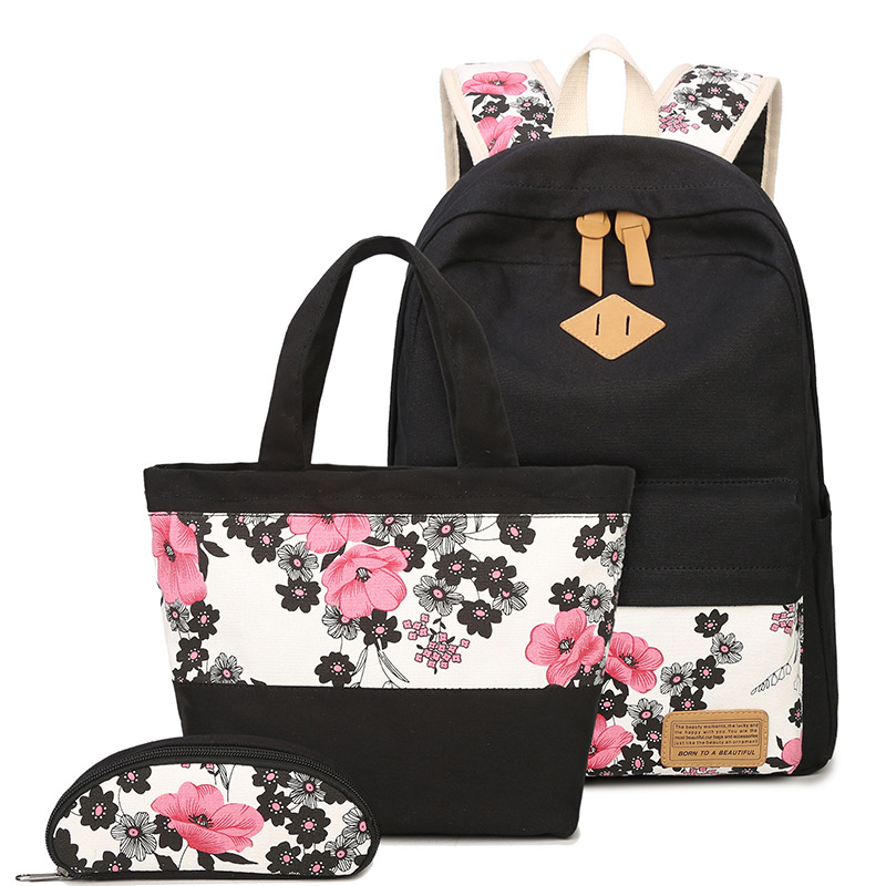 New Canvas Plum Blosso Flower Printing Women Backpack Set School Students Teens Girl Bookbag For Lunch Tote Bag And Pencil Box