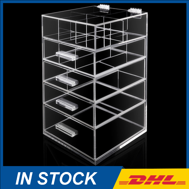 High Quality 5 Drawers Clear Acrylic Makeup Cosmetic Organizer