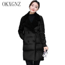 OKXGNZ Женщины Зима 2017 Южная Корея Новый Средней Длины Сгущает Куртки Хлопка Пальто Мода Большой Ярдов элегантный Досуг Пальто WomenQQ104